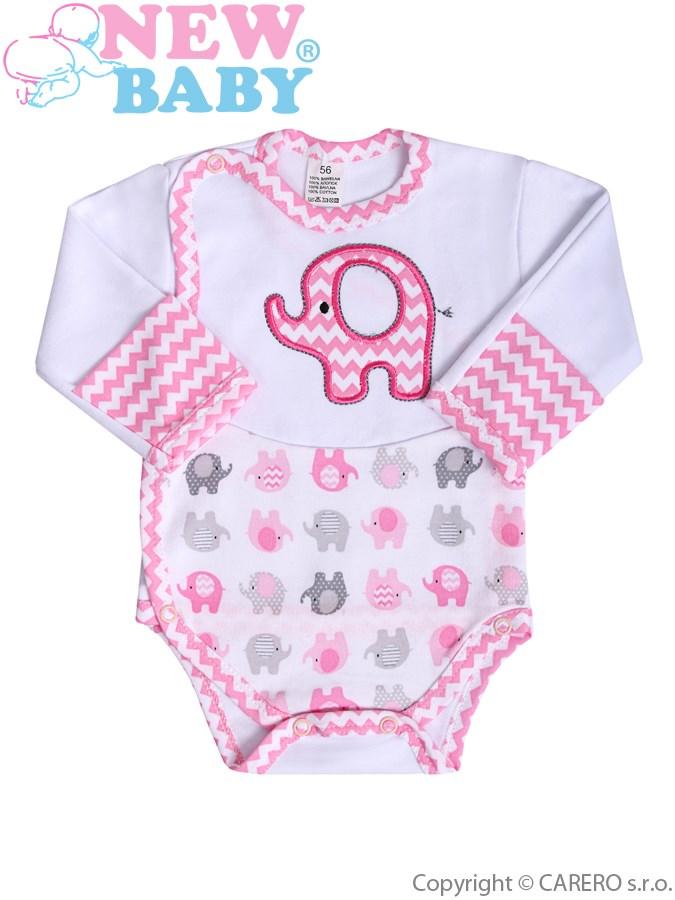 Dojčenské body s dlhým rukávom New Baby Sloník bielo-ružové s bočným zapínaním