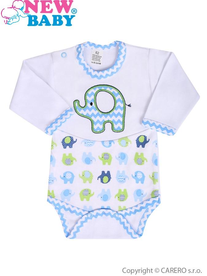 Dojčenské body s dlhým rukávom New Baby Sloník bielo-modré
