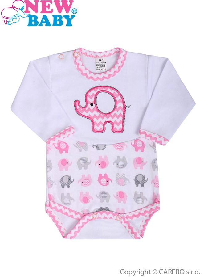 Dojčenské body s dlhým rukávom New Baby Sloník bielo-ružové