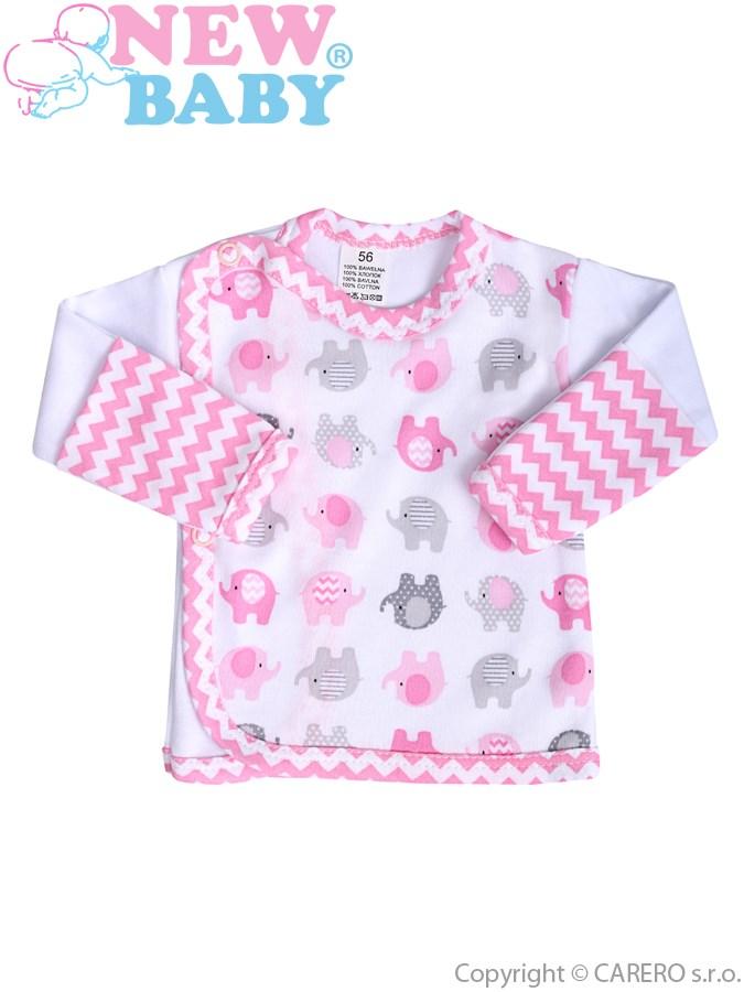 Dojčenská košieľka New Baby Sloník bielo-ružová
