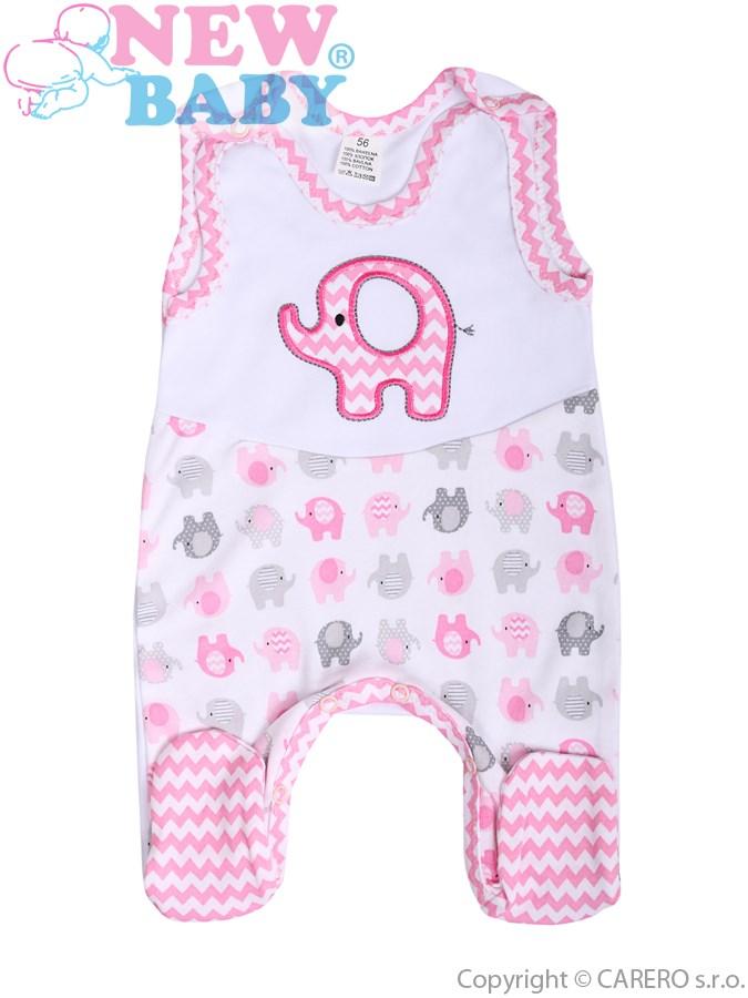 Dojčenské dupačky New Baby Sloník bielo-ružové