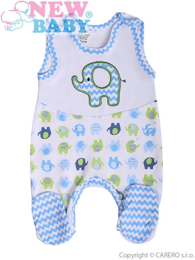 Dojčenské dupačky New Baby Sloník bielo-modré