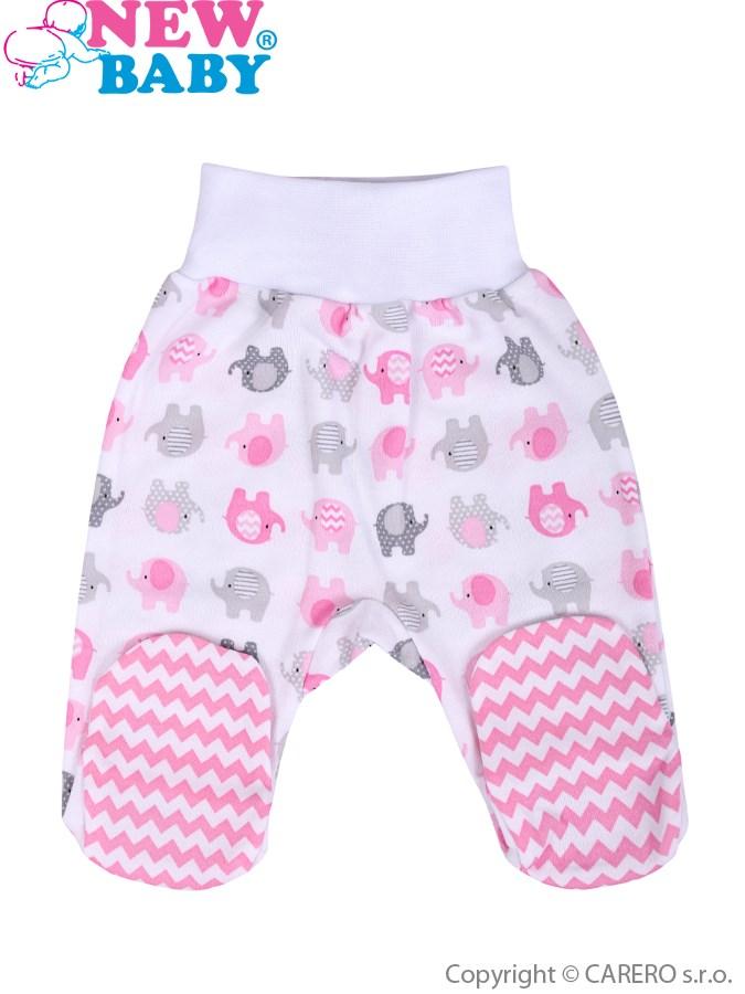Dojčenské polodupačky New Baby Sloník bielo-ružové