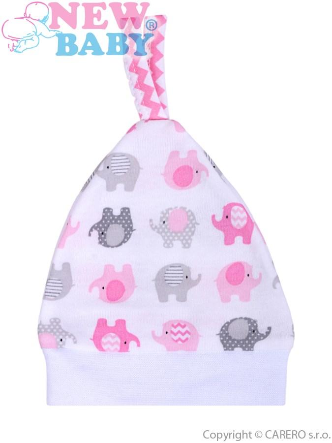 Dojčenská čiapočka New Baby Sloník bielo-ružová