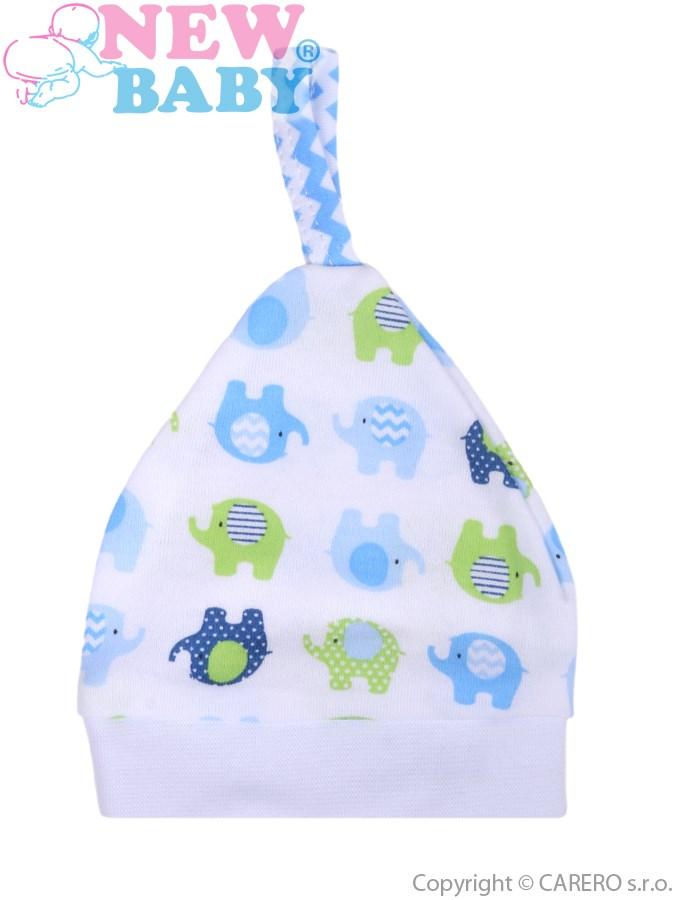 Dojčenská čiapočka New Baby Sloník bielo-modrá