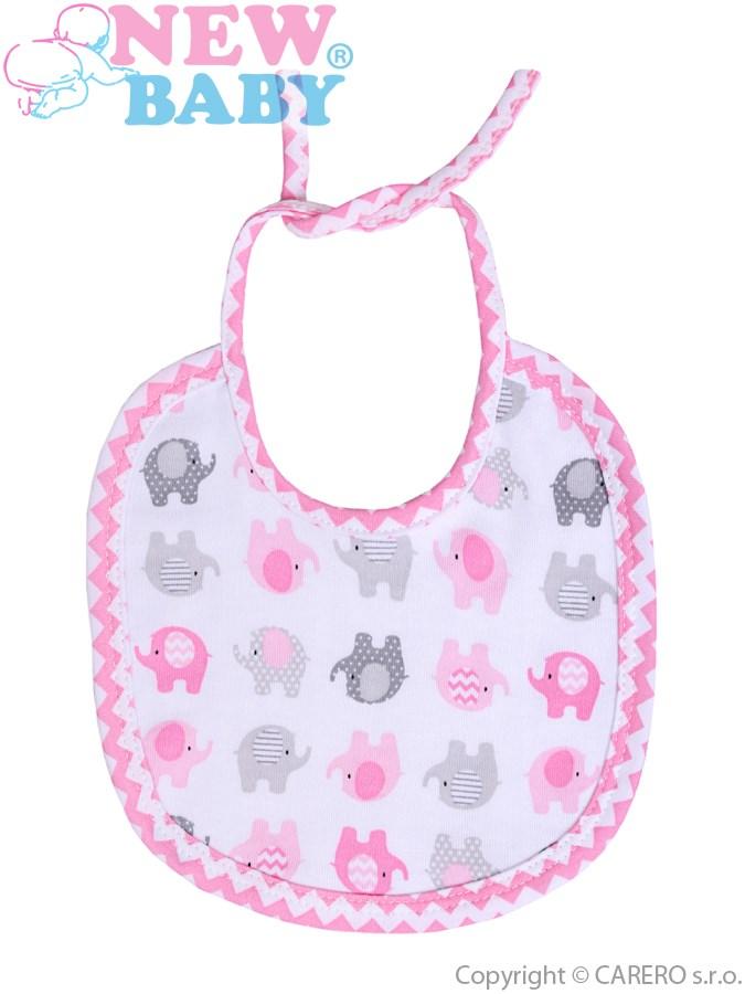 Detský podbradník New Baby Sloník bielo-ružový