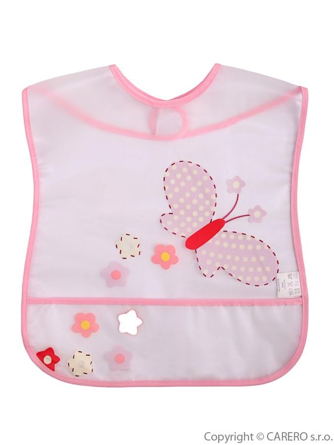 Detský podbradník s kapsičkou Akuku s motýlikom
