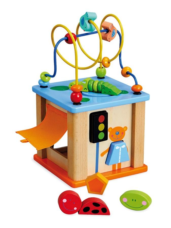 Drevená edukačná hračka Baby Mix Kocka labyrint modrá