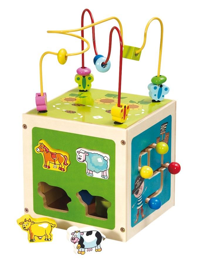 Drevená edukačná hračka Baby Mix Kostka labyrint zelená