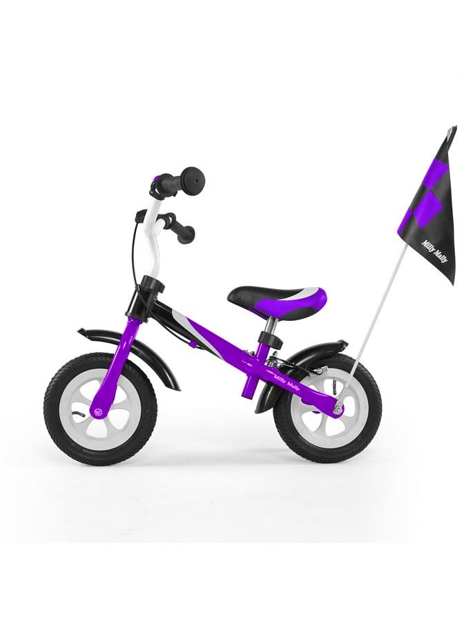 Detské odrážadlo kolo Milly Mally Dragon deluxe purple