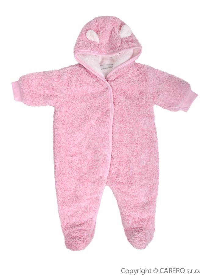 Zimný fleecový overal Baby Service Melírek ružový