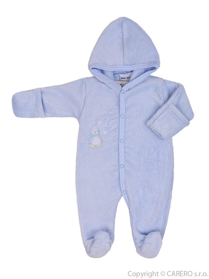 Fleecový overal Baby Service Pinguin modrý