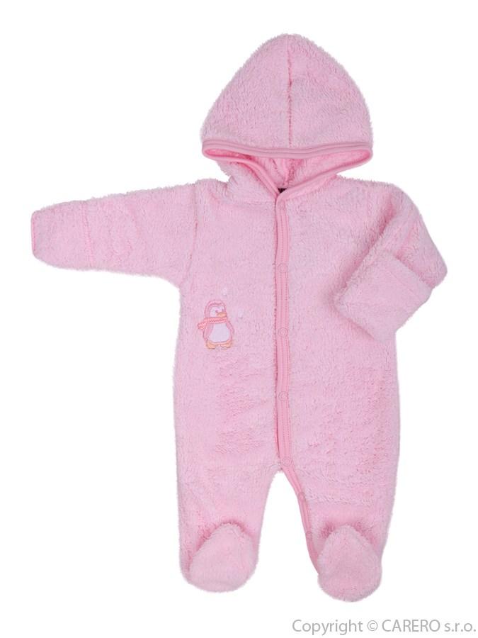 Fleecový overal Baby Service Pinguin ružový