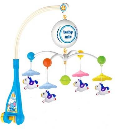 Elektrický kolotoč nad postieľku Baby Mix Koníky