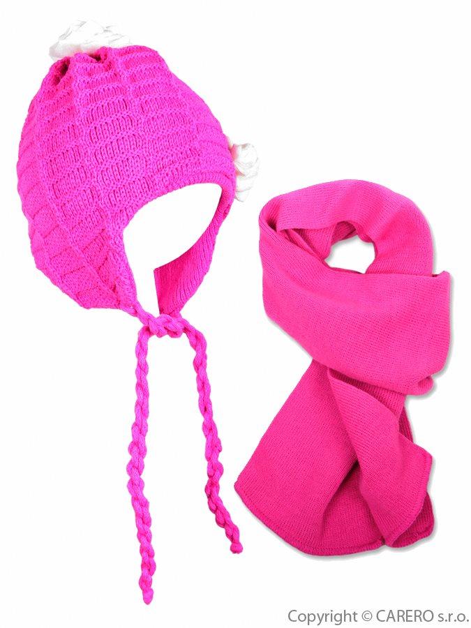 Detská zimná čiapočka s šálom Kytička tmavo ružová