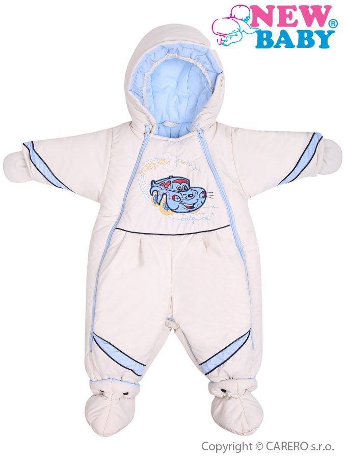 Zimná kombinéza New Baby Auto bežovo-modrá